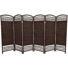 Fiber Weave 6 Panel Room Divider in Dyed Dark Mocha