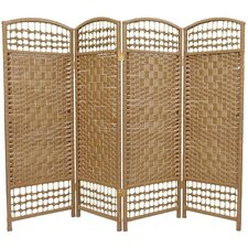 Fiber Weave 4 Panel Room Divider in Dyed Natural