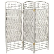 Fiber Weave 3 Panel Room Divider in Dyed White