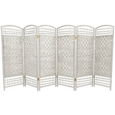 Fiber Weave 6 Panel Room Divider in Dyed White