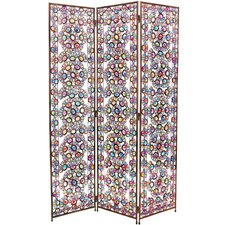 "67.75"" x 46.5"" Tall Winter and Spring Jeweled 3 Panel Room Divider"
