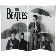 "<strong>Oriental Furniture</strong> 48"" x 63"" Tall Double Sided The Beatles Umbrellas 4 Panel Room Divider"