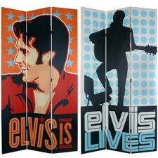 "84"" x 51"" Elvis Presley Tall Double Sided Lives 3 Panel Room Divider"