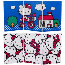 "23.75"" x 47.25"" Tall Double Sided Hello Kitty Bicycle 3 Panel Room Divider"