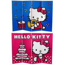 "<strong>Oriental Furniture</strong> 48"" x 63"" Tall Double Sided Hello Kitty Birthday Cake 4 Panel Room Divider"