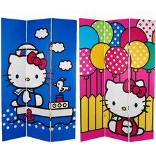 "<strong>Oriental Furniture</strong> 71"" x 47.25"" Tall Double Sided Hello Kitty Sailor 3 Panel Room Divider"
