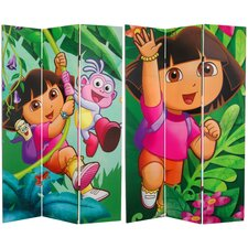 """71"""" x 47.25"""" Tall Double Sided Dora and Friends 3 Panel Room Divider"""