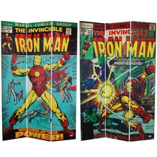"<strong>Oriental Furniture</strong> 71"" x 47.25"" Tall Double Sided The Invincible Iron Man 3 Panel Room Divider"