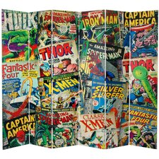 "84"" x 102"" Tall Double Sided Marvel Comic Book Covers 6 Panel Room Divider"