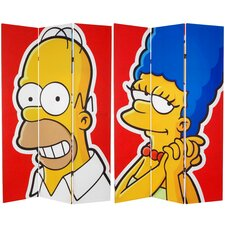 """71"""" x 47.25"""" Tall Double Sided Homer and Marge 3 Panel Room Divider"""