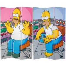"""71"""" x 47.25"""" Tall Double Sided Homer at Work 3 Panel Room Divider"""