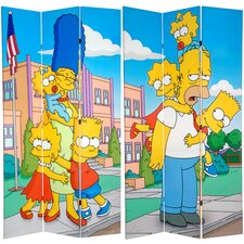 "<strong>Oriental Furniture</strong> 84"" x 51"" Tall Double Sided Simpsons Kids 3 Panel Room Divider"