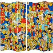 "84"" x 51"" Tall Double Sided Simpsons Cast 4 Panel Room Divider"
