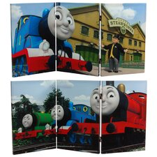 "23.75"" x 47.25"" Tall Double Sided Thomas Sodor Steamworks 3 Panel Room Divider"
