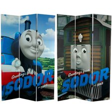 """71"""" x 47.25"""" Tall Double Sided Thomas Greetings from Sodor 3 Panel Room Divider"""