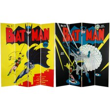 "<strong>Oriental Furniture</strong> 71"" x 63"" Tall Double Sided Batman and Robin 4 Panel Room Divider"