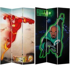 """71"""" x 47.25"""" Tall Double Sided Green Lantern and The Flash 3 Panel Room Divider"""