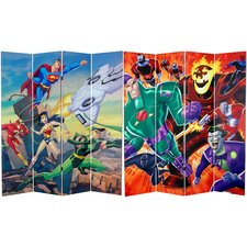 "71"" x 63"" Tall Double Sided Justice League 4 Panel Room Divider"