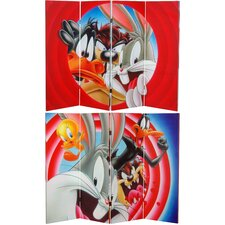 "48"" x 63"" Tall Double Sided Looney Tunes 4 Panel Room Divider"