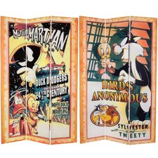 "<strong>Oriental Furniture</strong> 71"" x 47.25"" Tall Double Sided Tweety and Marvin the Martian 3 Panel Room Divider"