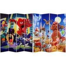 "<strong>Oriental Furniture</strong> 71"" x 63"" Tall Double Sided Tasmanian Devil and Bugs Bunny 4 Panel Room Divider"