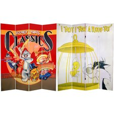 "<strong>Oriental Furniture</strong> 71"" x 63"" Tall Double Sided Tweety and Sylvester 4 Panel Room Divider"