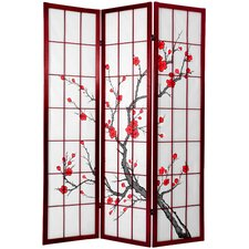 "<strong>Oriental Furniture</strong> 71"" x 51"" Tall Cherry Blossom Shoji Screen"