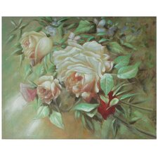 Hand Painted Portrait of a Peach Peony Original Painting on Canvas