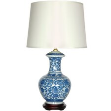 """Porcelain Round Vase 24"""" """" H Table Lamp with Empire Shade"""