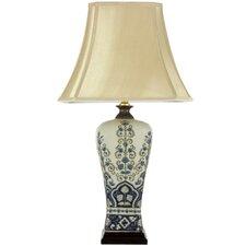 "Fleur de Lis Design 28"" H Table Lamp with Bell Shade"
