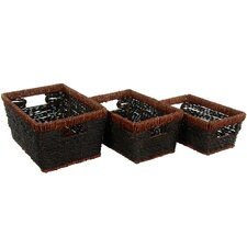 Hand Woven Rush Grass Shelf Basket (Set of 3)