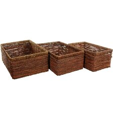 <strong>Oriental Furniture</strong> Hand Woven Space Saver Basket (Set of 3)