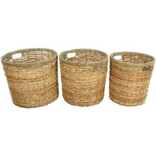 <strong>Oriental Furniture</strong> Rush Grass Round Waste Bin (Set of 3)
