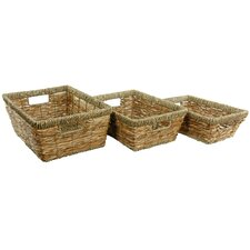<strong>Oriental Furniture</strong> Hand Woven Open Tote Tray (Set of 3)
