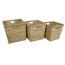 3 Piece Hand Woven Rush Grass Basket Bin Set (Set of 3)