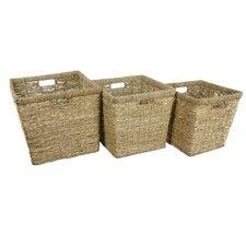 Hand Woven Rush Grass Basket Bin (Set of 3)