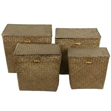 <strong>Oriental Furniture</strong> Hand Woven Rush Grass Storage Tote (Set of 4)