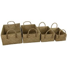 4 Piece Storage Basket Set with Handles