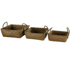 Hand Plaited Basket Tray with Handles (Set of 3)