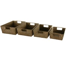 <strong>Oriental Furniture</strong> Hand Plaited Basket Tray (Set of 4)
