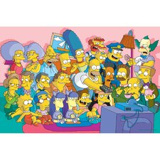 The Simpsons Watching TV Graphic Art on Canvas
