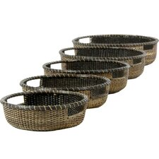 <strong>Oriental Furniture</strong> Rattan Basket Tray (Set of 5)