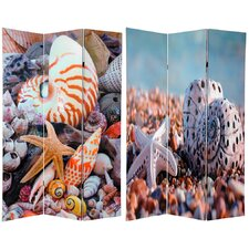 "70.88"" x 47.25"" Double Sided Seashells 3 Panel Room Divider"
