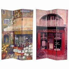 "<strong>Oriental Furniture</strong> 72"" x 64"" Double Sided Brasserie 3 Panel Room Divider"