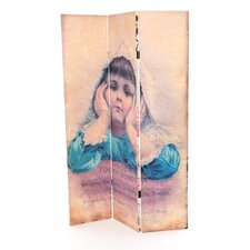 6 Feet Tall Double Sided Vintage Children Canvas Room Divider