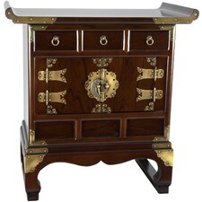 <strong>Oriental Furniture</strong> Korean 3 Drawer End Table Cabinet