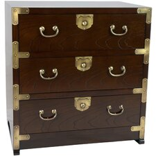 Korean Tansu 3 Drawer End Table Chest