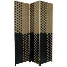 Woven Fiber 3 Panel Room Divider in Tan and Black