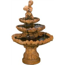 Figurine Cast Stone Shellboy Three-Tiered Fountain