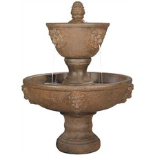 Lion Cast Stone Large Two-Tier Leonesco Cascade Fountain